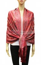 Pashmina Floral & Paisley Red