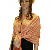 Paisley Jacquard Shawl Light Orange
