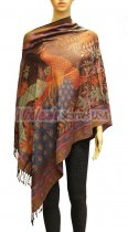 Wholesale Peacock Design Pashmina Brown/Red