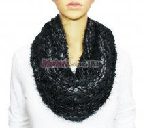 Infinity Mixed Loop Knit Scarf Black