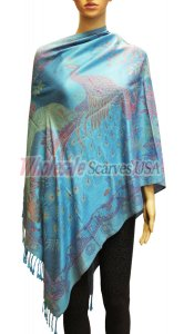 Wholesale Peacock Design Pashmina Turquoise