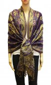 Wholesale Paisley Flower Pashmina Purple