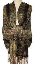 Paisley Flower Shawl Black/Gold