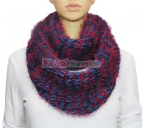 Infinity Fluffy Knit Scarf Royal Blue