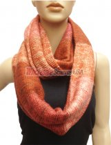 Multicolor Section Knit Infinity Scarf Rust Multi