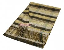 Woven Plaid Scarf A34 Coffee/Gold