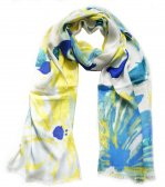 Premium Floral Print Scarf S0407 Yellow / Blue