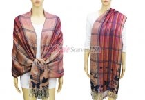 Pashmina Checker & Butterfly Pink / Red