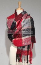 Cashmere Feel Plaid Scarf Shawl Black/Red