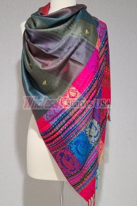 Paisley Stripe Pashmina Dark Grey