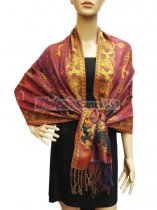 Pashmina Abstract Leaf Burgundy