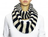 Infinity Striped Knit Scarf Black / Off White
