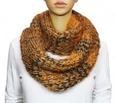 Infinity Fluffy Knit Scarf Light Brown