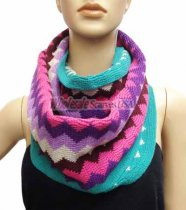 Zig Zag Infinity Knit Scarf Purple Multi