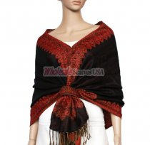 Jacquard Border Scarf Dark Brown