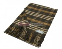 Woven Plaid Scarf #20-02 Dark Brown