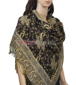 Small Paisley Scarf Black Coffee