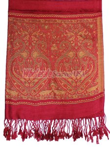 Wholesale Paisley Heart Pashmina Burgundy