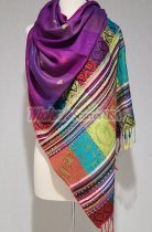 Paisley Stripe Pashmina Purple