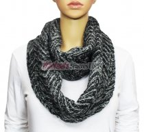 Infinity Two Color Mixed Knit Scarf Dark Grey