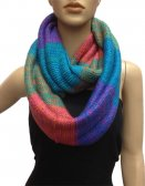 Multicolor Section Knit Infinity Scarf Blue Green Multi