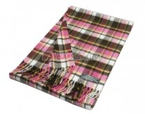 Cashmere Feel Plaid Scarf Brown/Pink