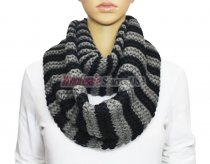 Infinity Striped Knit Scarf Black / Grey
