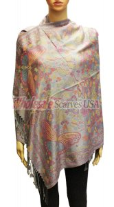 Wholesale Butterfly Design Pashmina Grey
