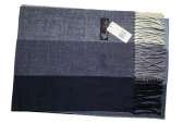 Cashmere Feel Stripe Scarf Navy