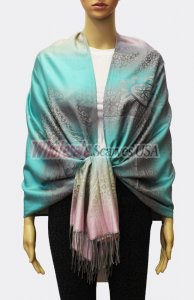 Pashmina Ombre Leopard Turquoise/Pink