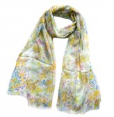 Premium Floral Print Scarf S0453 Green / Yellow