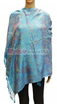 Wholesale Butterfly Design Pashmina Turquoise