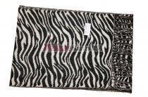 Cashmere Feel Zebra Scarf Black/White