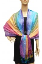 Pashmina Colorful Paisley Pink/Yellow