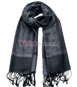Paisley Jacquard Shawl Black w/ Medium Grey