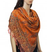 Small Paisley Scarf Tangerine
