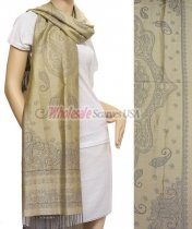 Simple Paisley Shawl Grey w/ Beige