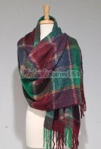 Cashmere Feel Plaid Scarf Shawl Green/Burgundy