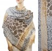 Giraffe Section Pattern Scarf Brown