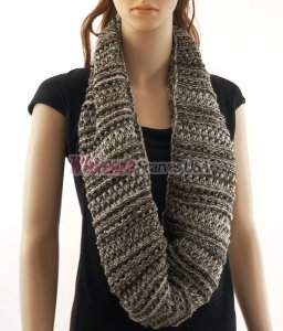 Stripe Loop Scarf Coffee