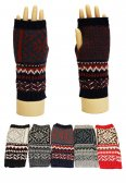 Winter Fingerless Pattern Gloves 1 DZ, Asst. Color