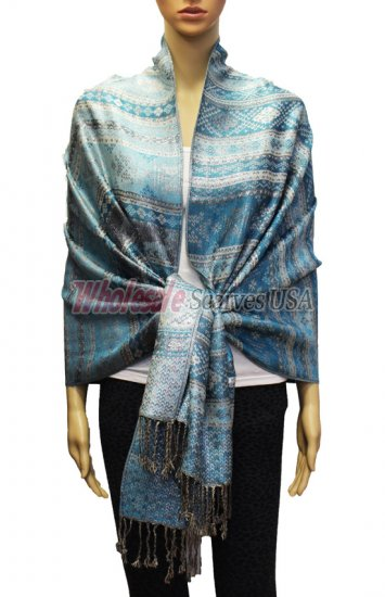 Geometry Pattern Scarf BH1805 Light Blue - Click Image to Close