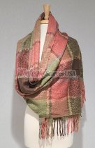 Cashmere Feel Plaid Scarf Shawl Pink/Green