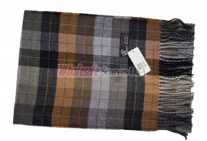 Cashmere Feel Plaid Scarf Brown
