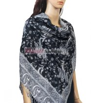 Small Paisley Scarf Black/White