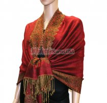 Jacquard Border Scarf Red