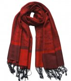 Paisley Jacquard Shawl Black w/ Red