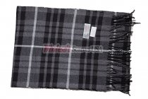 Cashmere Feel Plaid Scarf Black/Grey #2224