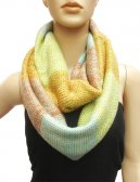 Multicolor Section Knit Infinity Scarf Yellow Green Multi