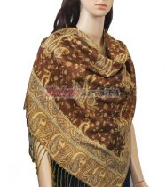 Small Paisley Scarf Brown